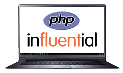 influential software php development team represented by logos on laptop