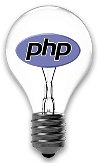 php development services represented by lightbulb with php logo