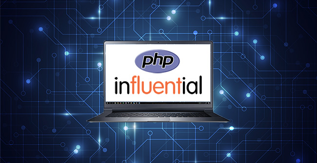 php development services represented by php logo on laptop